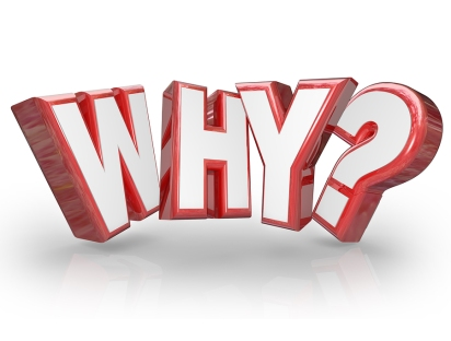 The word Why in red 3D letters and a question mark to ask the re